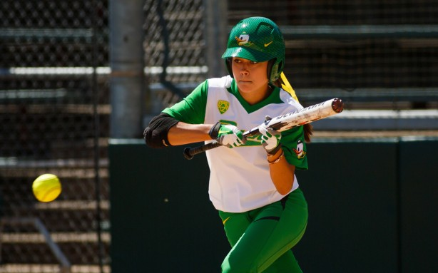 Left fielder Janie Takeda, a two-time All-American, comes into the WCWS batting .395 and leads the Ducks in doubles (13) and stolen bases (19). (Mason Trinca/Emerald)