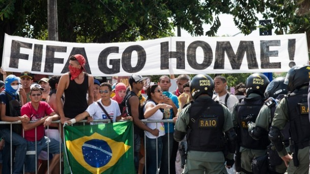 A rise in bus fares, poor public services and other ills in the midst of an over $11 billion investment in staging the FIFA World Cup in Brazil has led many Brazilians to take the streets in air their grievances at their government, as well as FIFA, soccer's governing body. (Davi Pinheiro/Reuters)