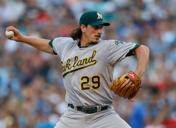 Although possessing the league's best record, the Athletics still were aggressive in acquiring both Jeff Samardzija (above) and Jason Hammel from the Cubs in hopes to put past October nightmares to bed. (Getty Images)