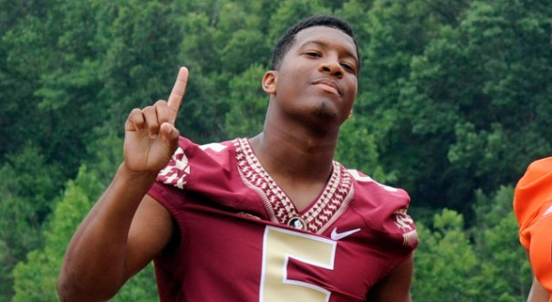 Jameis Winston reminds us where his Seminoles finished last season at the 2014 ACC Football Kickoff players photo shoot in Greensboro, N.C. (Sam Sharpe/USA Today Sports)