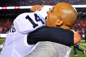 Penn State quarterback Christian Hackenberg and first-year head coach embrace after a hard fought victory in the Garden State. (Alex Goodlett/Getty Images)