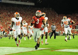 Todd Gurley amassed 293 all-purpose yards and scored 4 TDs vs. Clemson. (Scott Cunningham/Getty Images)