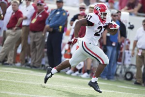 Two straight 100-yard games, including going for 202 against Arkansas on Oct. 18, has put Nick Chubb in the discussion for the Freshman All-America team. (Getty Images)