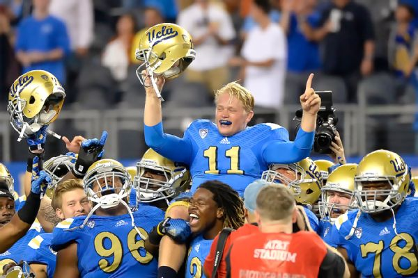 After coming in for an injured Brett Hundley, UCLA backup Jerry Neuheisel did some things that led the team to victory.  Neuheisel earned the Pac-12's Player of the Week, as well as being carried off the field by his teammates. (R. Mackson/USA Today Sports)