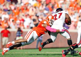 Clemson's Vic Beasley, the FBS sack leader last season with 13, already has eight sacks after six games in 2014. (Tyler Smith/Getty Images)