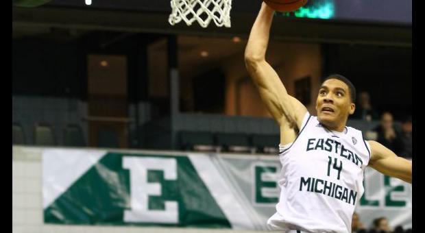 The high-flying exploits of Karrington Ward is part of the reason Eastern Michigan has realistic hopes of making the NCAA Tournament for the first time since 1998. (Chloe Smith/EMU Athletics)