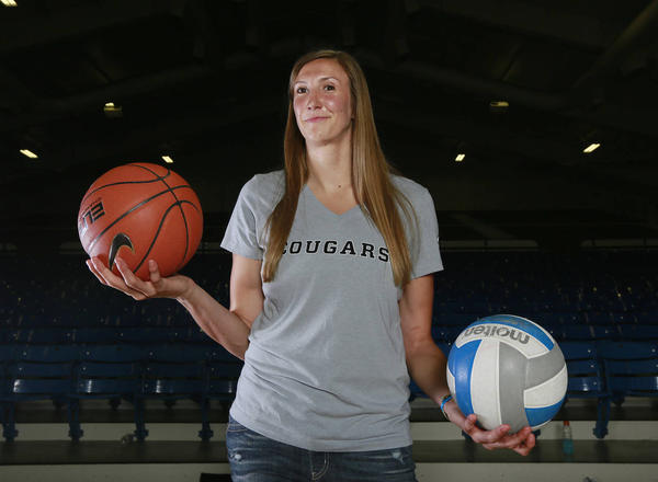 Although being drafted in the second round of the 2014 WNBA Draft, BYU two-sport standout Jennifer Hamson decided to stay in Provo to complete her volleyball eligibility at BYU. (Hugh Carey/Deseret News)