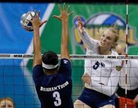 Another key cog to Penn State's national title team was Ali Frantti (5), the AVCA Freshman of the Year. (Sue Ogrocki/AP)