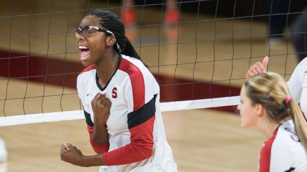 Stanford middle blocker Inky Ajanaku hopes to lead the Cardinal to their seventh national championship and their first title since 2004. (Photo: GoStanford.com)
