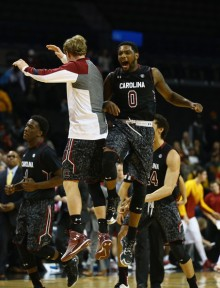 Sindarius Thornwell (0) and the rest of the Gamecocks were all smiles after the schools first win over a Top 10 team since 2010. (Al Bello/Getty Images)