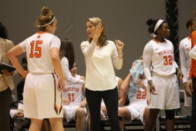 A former two-time first-team All-Ivy League guard in her playing days, Princeton head coach Courtney Banghart is leading the Tigers to heights no Ivy League women's team has ever achieved. (Beverly Schaefer/Princeton University)