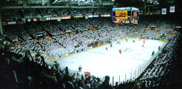 "Responding to the ""C of Red"" in Calgary, fans of the original Winnipeg Jets responded with the Winnipeg White Out (ManitobaPhotos.com)"