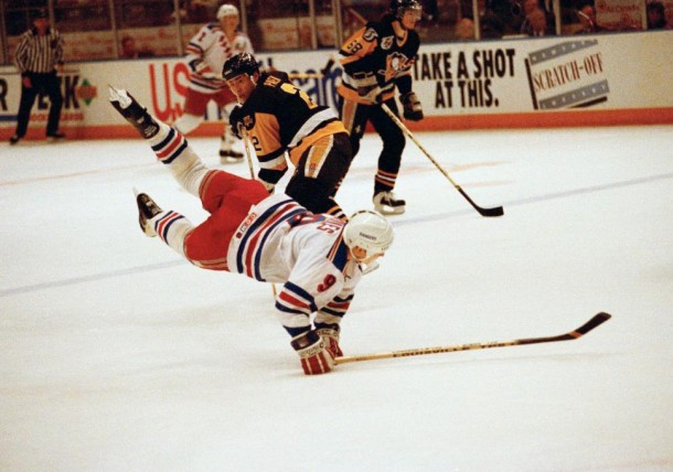The 1993 playoff series between the Rangers and Penguins turned on its head when Adam Graves was suspended four games (Bill Kostroun/AP)