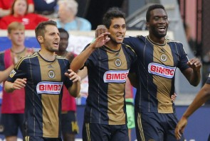 Noguiera (l.), Maidana (c.) and Sapong all had a hand in the goals that saw the Union win (Noah K. Murray/USA Today Sports)