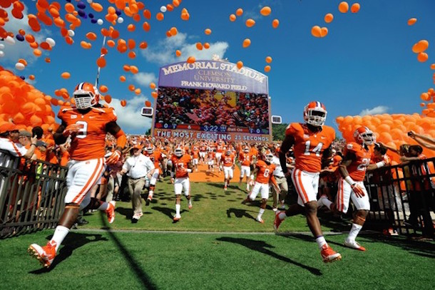 "One of the most well-known entrances in college football includes Clemson's players running down ""The Hill."" On top of the hill sits a plot of land that used to be the plantation house of John. C. Calhoun (AP)"