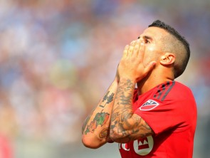 Even with his hat trick, not everything went right today for Giovinco, who missed a penalty in the first half. (Adam Hunger/Getty Images)