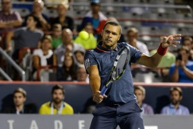 It took long into the night, but Tsonga pulled out a wild match against Bautista Agut. (Minas Panagiotakis/Getty Images)