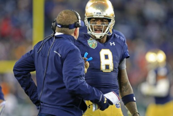 Notre Dame head coach Brian Kelly hopes to take another Irish team to a national title game with a first-year starting quarterback, this time with Malik Zaire (AP)