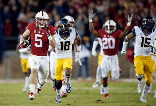 Stanford running back Christian McCaffrey leads all FBS players with 255.18 all purpose yards per game, and his return skills - including this 96-yard kickoff return against Cal last week - is what will lead him to New York City. (Ezra Shaw/Getty Images)