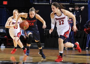 In Duquesne's win over defending A-10 Champ Dayton on Sunday, April Robinson (32) recorded the third triple-double in program history. (GoDuquesne.com)