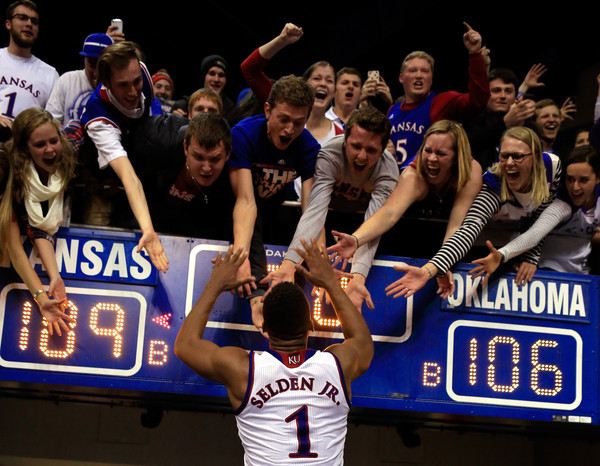 After three overtimes and countless great plays all night, Wayne Selden Jr. and the Jayhawks outlasted Oklahoma in a matchup of the top two teams in America. (Jamie Squire/Getty Images)
