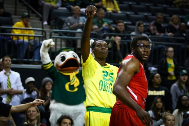 Not only is first-year Oregon player Chris Boucher one of the nation's leading shot blockers, he's hitting threes at a 39 percent clip. (Samuel Marshall/Daily Emerald)