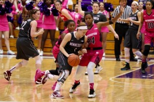 Banham (with ball) spread out her points in the win over the Wildcats. (Keshia Johnson/The Daily Northwestern)