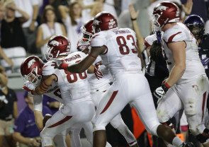 Can quarterback Austin Allen (8)  lead the Hogs to another win vs. a ranked team in the Lone Star State, like he did two weeks ago against then-No. 12 TCU? (Ronald Martinez/Getty Images)