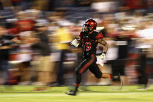 If you don't know the name Donnel Pumphrey, you better. He's only averaging 199.7 rushing yards per game after three contests, and is on pace to rank in the top 10 all-time in rushing yards in FBS history. (Getty Images)