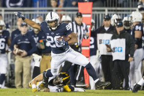 Running back Saquon Barkley has rushed for at least 167 yards in three of his last four games, including two 200-yard performances. (Brett Carlsen/Getty Images)