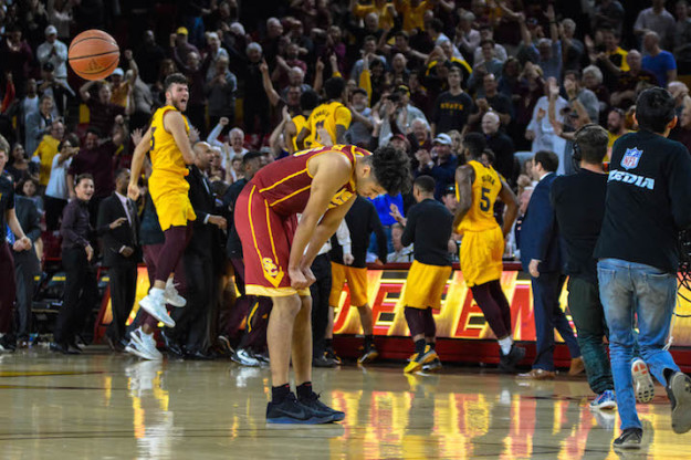 USC's Bennie Boatwright made five threes on his way to a game-high 22 points, but his missed three pointer at the buzzer left him crestfallen and gave the Sun Devils the win. (Stefanie Rodriguez/A Lot of Sports Talk)
