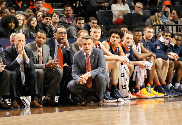 After starting the season 16-3, Tony Bennett has seen his Virginia team lose seven of its lat 13 games, clearly heading in the wrong direction as the NCAA Tournament looms. (Robert Cole/ALOST)
