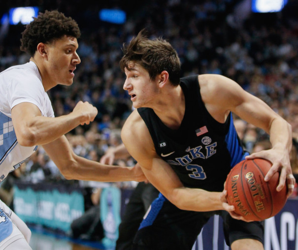 While ACC Player of the Year Justin Jackson (l.) had a rough shooting night on Saturday, it was Duke's  Grayson Allen who was one of the stars of Duke's win with his 18-point performance, including making five of six threes. (Robert Cole/ALOST)