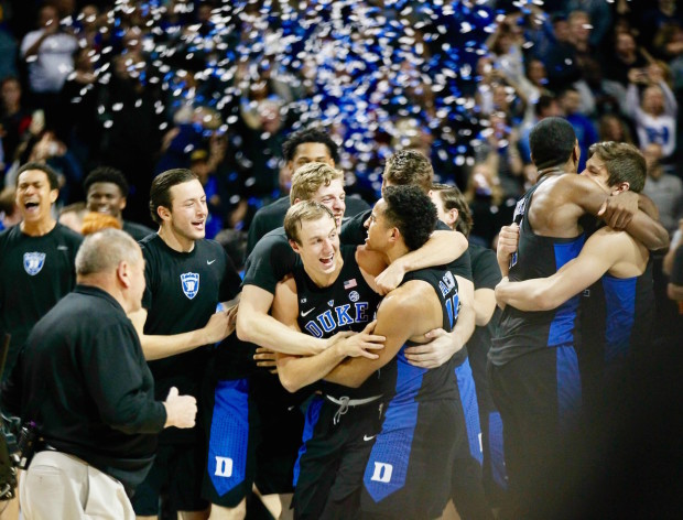The Duke Blue Devils made it an even 20 ACC Tournament championships after, for the third consecutive day, coming back from a second half deficit to rally for the win against Notre Dame. (Robert Cole/ALOST)