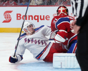 The Habs seemed on their way to the Cup Final in 2014 before Vezina Trophy winner Carey Price was knocked out of the Eastern Conference Finals in Game 1 after this collision with Chris Kreider. (Getty)