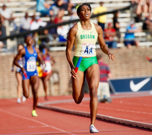 Oregon's Raevyn Rogers runs the 800-meter anchor leg as the Ducks put on a record-setting performance in the sprint relay at The Penn Relays. (Robert Cole/ALOST)