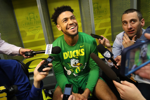 You would be all smiles too if you were averaging 24.5 points and shooting 65% (17-of-26) from three in four NCAA Tournament games, like Oregon's Tyler Dorsey. (Mike Lawrie/Getty Images)