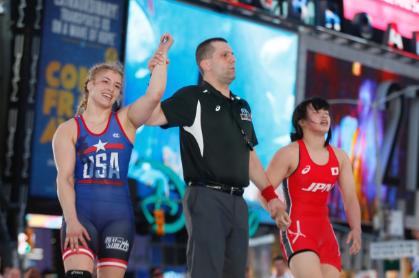 One of the Olympic gold medalists who featured in the Beat the Streets event was 2016 Rio gold medalist Helen Maroulis (l.), the first American to win a gold medal in women's wrestling. (Robert Cole/ALOST)
