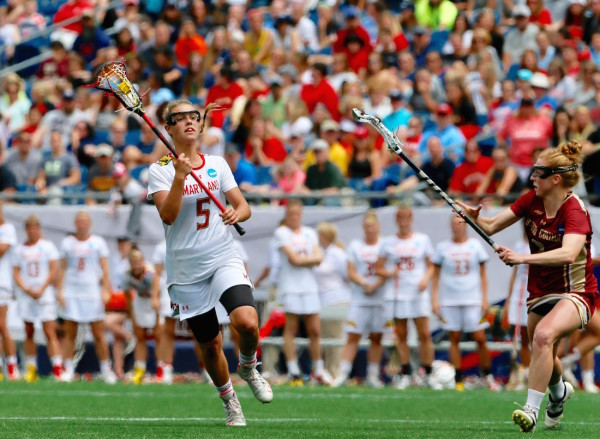 Sophomore midfielder Jen Giles scored two important back-to-back goals early in the second half to ease some nerves and allow Maryland to win another national championship. (Robert Cole/ALOST)