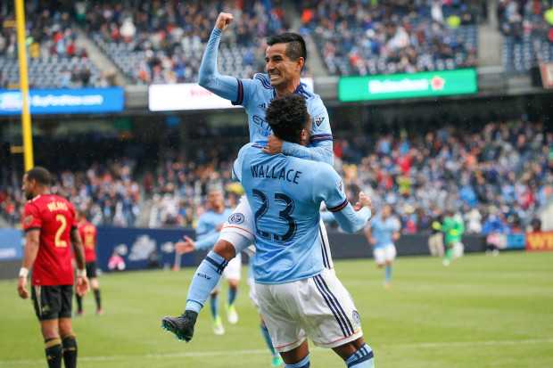Just a couple of minutes after NYCFC took the lead for good, Maxi Morales (above) and Rodney Wallace combined to score the team's third goal, with Morales getting the tally. (Robert Cole/ALOST)
