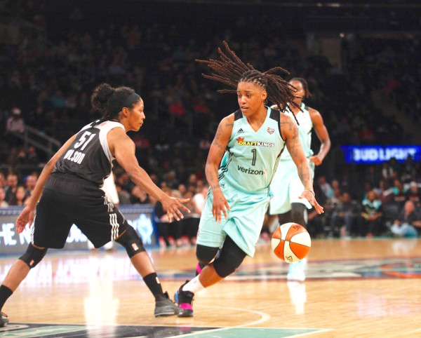 Shavonte Zellous was one of five players for the Liberty to score in double figures (10 points) as New York started its season with a win over San Antonio. (Robert Cole/ALOST)