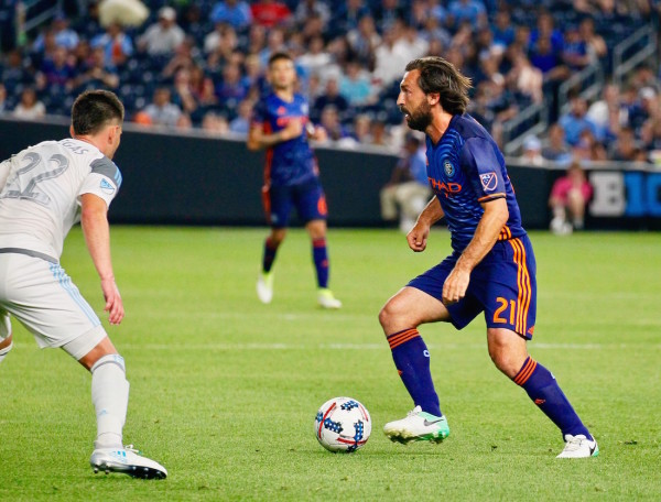 After missing more than a month of action due to a knee injury, soccer legend and NYCFC midfielder Andrea Pirlo returned to the pitch as a substitute in the 78th minute of tonight's game vs. Minnesota. (Robert Cole/ALOST)