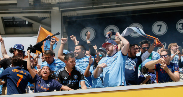 Within 10 minutes, the mood of fans of New York City Football Club went from somber to ecstatic after the team scored two late goals to come away with a win over the Union. (Robert Cole/ALOST)