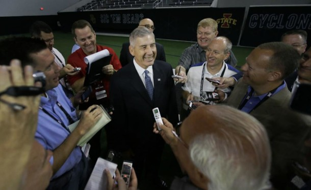 Big 12 commissioner Bob Bowlsby, while addressing members of the media on Monday, stressed that the league is as strong as its ever been despite the 11-year national title drought. (LM Otero/AP)