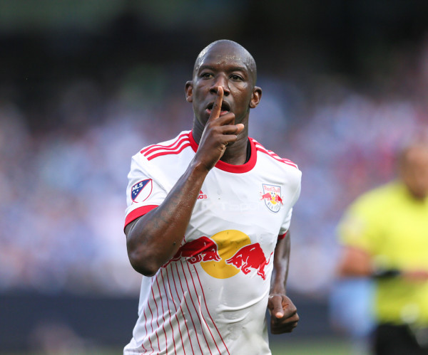 Bradley Wright-Phillips did his best to quiet the NYCFC crowd with two goals for the Red Bulls, his ninth and 10th all-time against the Hudson River Derby rivals. (Robert Cole/ALOST)