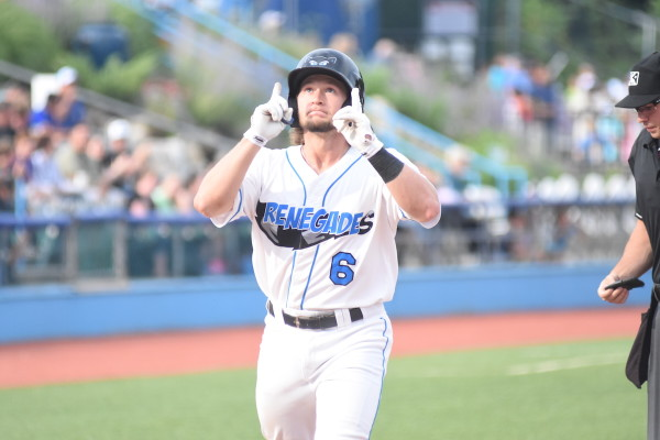 Zac Law provided the only run of the game for the Renegades in the second inning after rounding the bases on his third home run of the year. (Dontae J. Harris/ALOST)