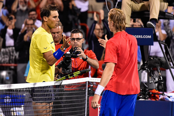 What is better than getting to play a match against your idol? Playing your idol and winning, which is what Denis Shapovalov (r.) did against Rafael Nadal in the quarterfinals of Coupe Rogers on Thursday. (Minas Pangiotakis/Getty Images)